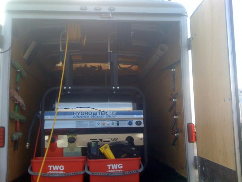 pressure washer inside enclosed trailer add ons window cleaning