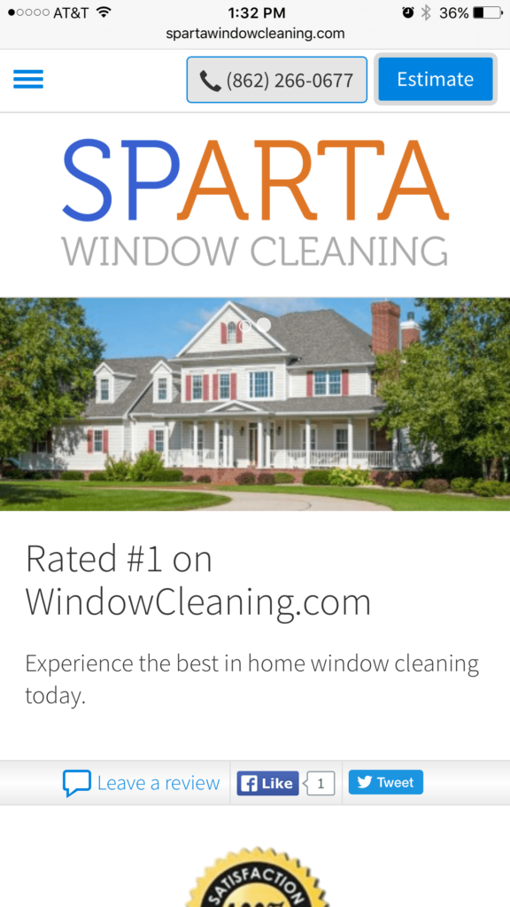 Sparta Window Cleaning Mobile View